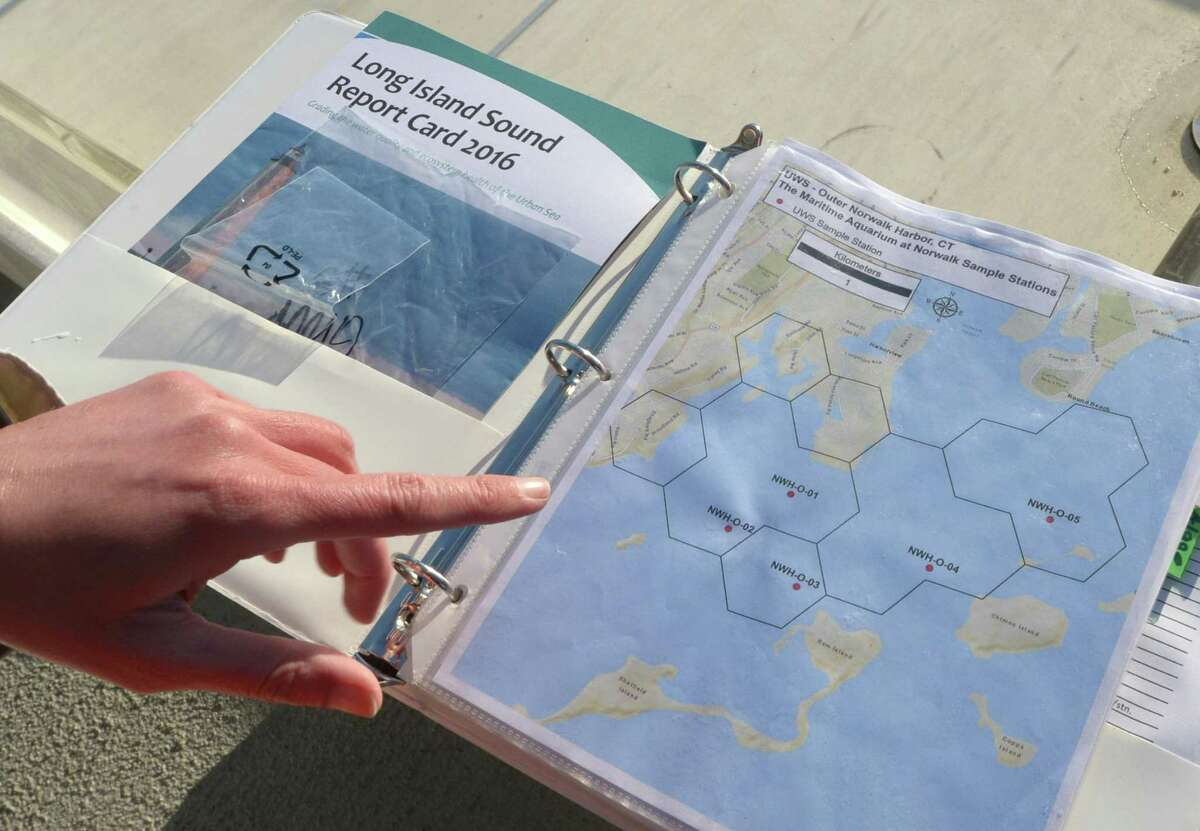 Maritime Aquarium staff map out their sites to test salt water from the Spirit of the Sound research vessel Tuesday, May 1, 2018, as The Maritime Aquarium participates in the Unified Water Study, monitoring the quality of the Norwalk Harbor in Norwalk, Conn. The first sampling of the year sampled 5 sites in the Outer Norwalk Harbor for the Study measuring temperature, salinity, turbidity (cloudiness), chlorophyll a (a measure of phytoplankton - what can cause the oxygen deprivation later in the year) and depth. The instrument is called a sonde. In addition a surface sample (a bucket full of water) was taken and filtered for chlorophyll. This project is coordinated by Save The Sound, and the science co-direction is done by Dr. Jamie Vaudrey (UConn Avery Point) and Dr. Jason Krumholz (McLaughlin Research Corporation. The study involves over 20 organizations this year, and will allow the comparison of the conditions of different harbors around the Long Island Sound.