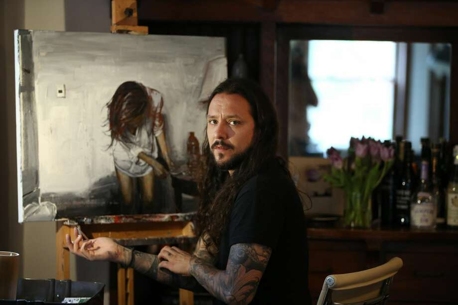 Artist David Allen paints at his home on Wednesday, September 7, 2016 in Chicago, Ill. (Stacey Wescott/Chicago Tribune/TNS) Photo: Stacey Wescott/TNS