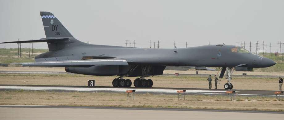A B-1B Lancer from the 337th Test and Evaluation Squadron, located at Dyess Air Force Base, will flyover hospitals in West Texas to salute American heroes, such as medical professionals, first responders, and other essential workers, Friday, May 15, 2020. Photo: Tim Fischer/Midland Reporter-Telegram