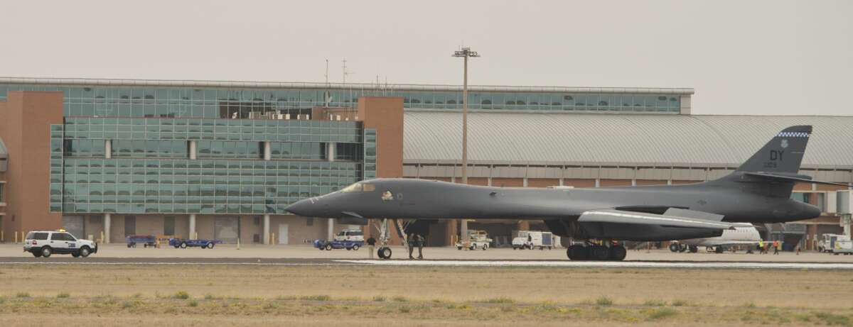 An Air Force B1B Lancer had to make an emergency landing 05/01/18 at Midland International Airport, parking on the main north/south runway. Tim Fischer/Reporter-Telegram