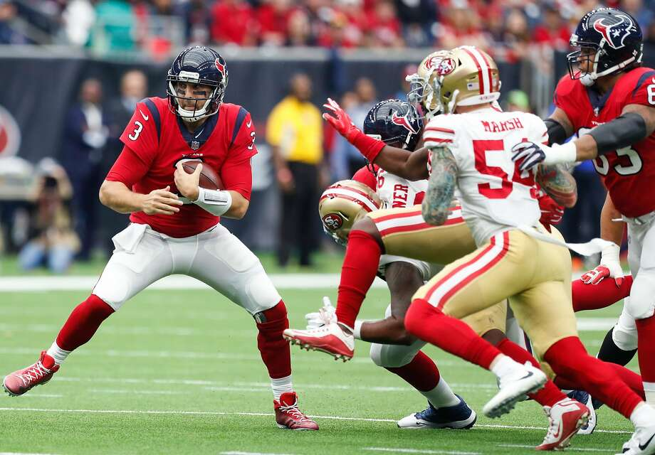 Houston Texans quarterback Tom Savage (3) is forced out of the pocket by San Francisco 49ers defensive end Cassius Marsh (54) during the first quarter of an NFL football game at NRG Stadium on Sunday, Dec. 10, 2017, in Houston. ( Brett Coomer / Houston Chronicle ) Photo: Brett Coomer / Houston Chronicle