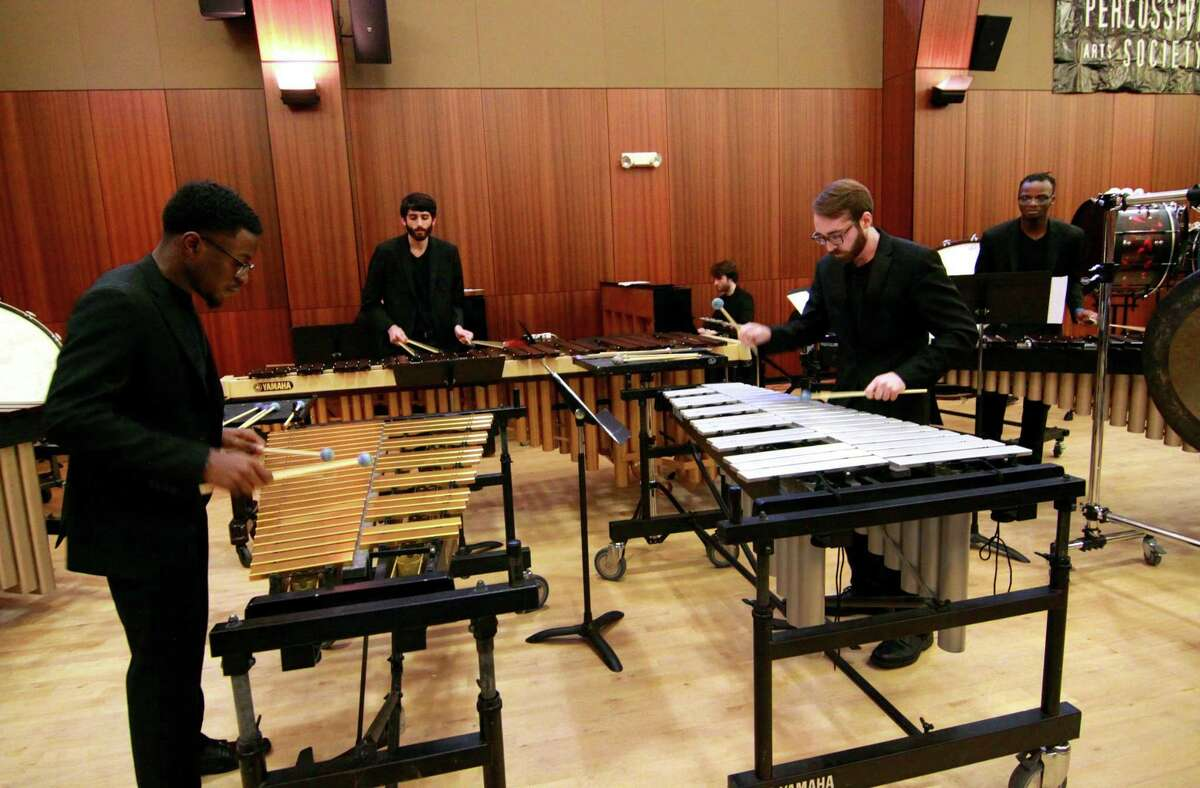 Western Connecticut State University's with the school's Chamber Percussion Group performs during the 2018 Day of Percussion held at Sacred Heart University in Fairfield, Conn., on Saturday Apr. 28, 2018. The event, organized by the Percussive Arts Society Connecticut Chapter, featured performances by schools like Trumbull High School, Westport Middle School and University of New Haven as well as drumming and percussion clinics.
