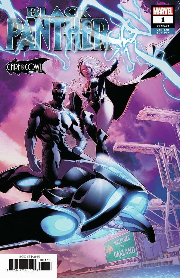 Oakland comic shop Cape & Cowl unveiled its exclusive variant of Marvel's Black Panther #1, written by Ta-Nehisi Coates and with art by Daniel Acuna. Photo: Marvel/Art By Jamal Pryce Campbell