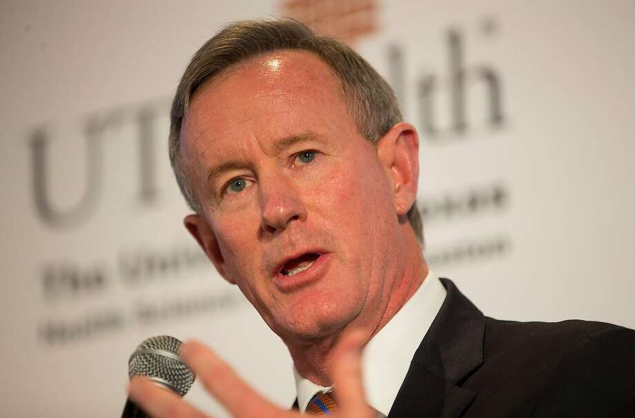 University of Texas System Chancellor William McRaven speaks during a press conference announcing plans by the Texas Medical Center, along with the Baylor College of Medicine, Texas A&M University, the University of Texas and M.D. Anderson Cancer Center, to build a research and innovation campus on land just south of S. Braeswood Blvd. and north of Old Spanish Trail, Monday, April 23, 2018, in Houston.( Mark Mulligan / Houston Chronicle ) Photo: Mark Mulligan / Hearst Newspapers 2018