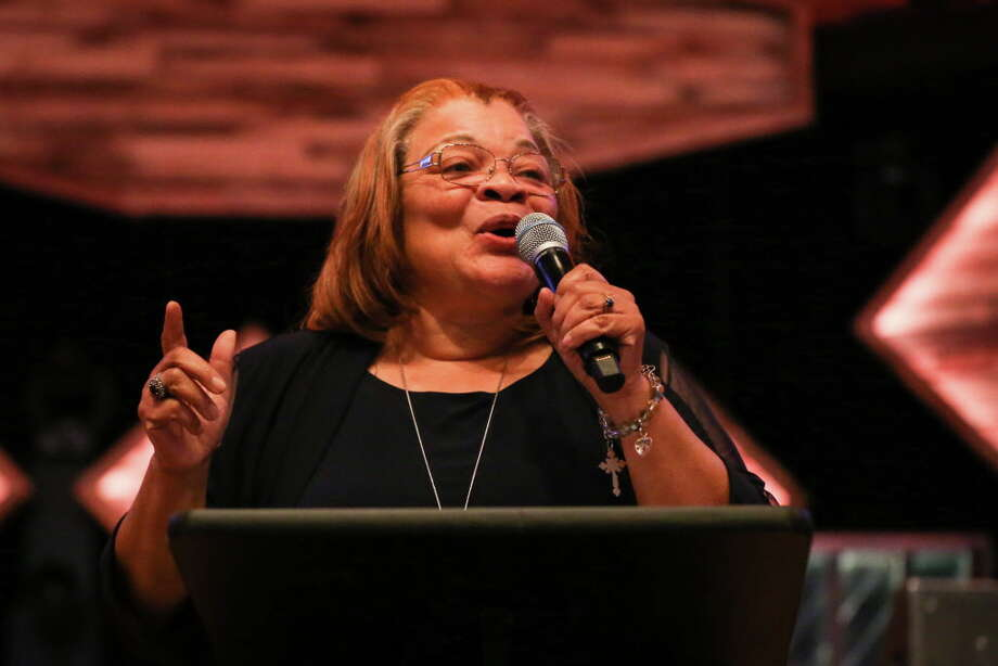Dr. Alveda King, niece of Dr. Martin Luther King, Jr., gives the keynote speech during the Dinner For Life event on April 21 at WoodsEdge Community Church. Photo: Michael Minasi, Staff Photographer / © 2018 Houston Chronicle