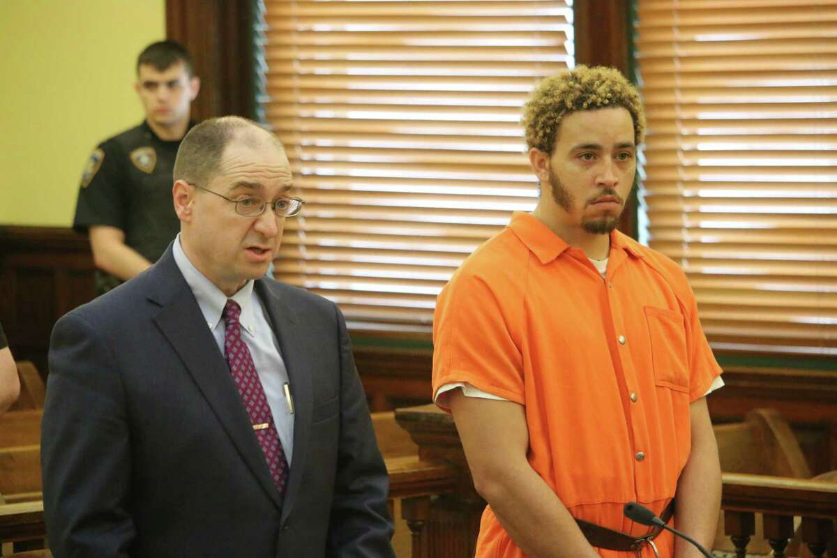 Carlos Graham, right, with his defense attorney Shane Zoni left, at the Greene County Courthouse on Tuesday, May 1, 2018. (Pool photo - Jada Kitson/Columbia-Greene Media)