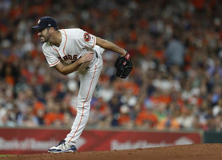 Astros ace Justin Verlander is among the American League leaders in multiple pitching categories. Photo: Karen Warren/Houston Chronicle