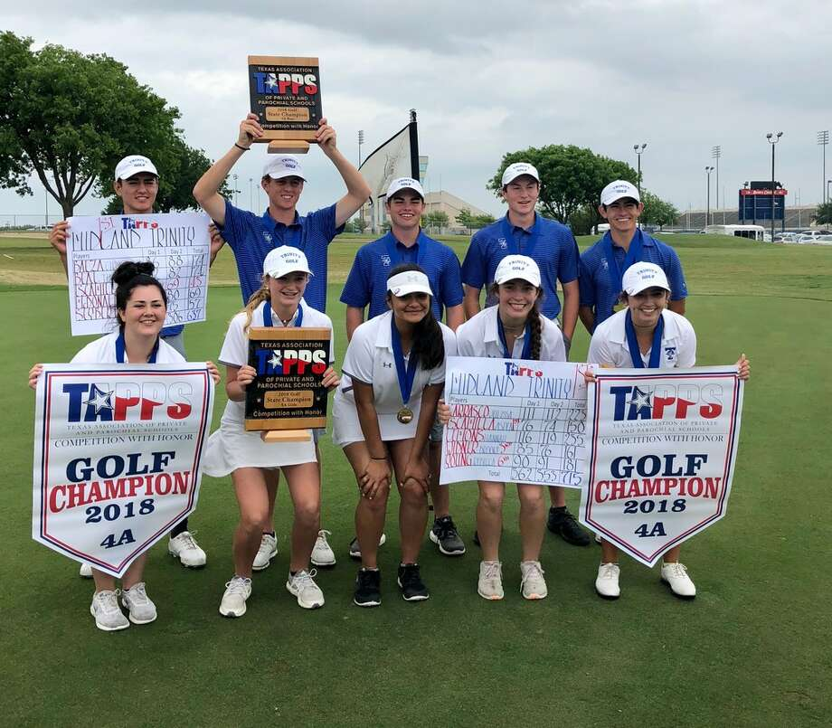 The Trinity School girls and boys golf teams celebrate after each won their respective TAPPS 4A state title on Tuesday at Waco's Cottonwood Creek Golf Course. Courtesy photo