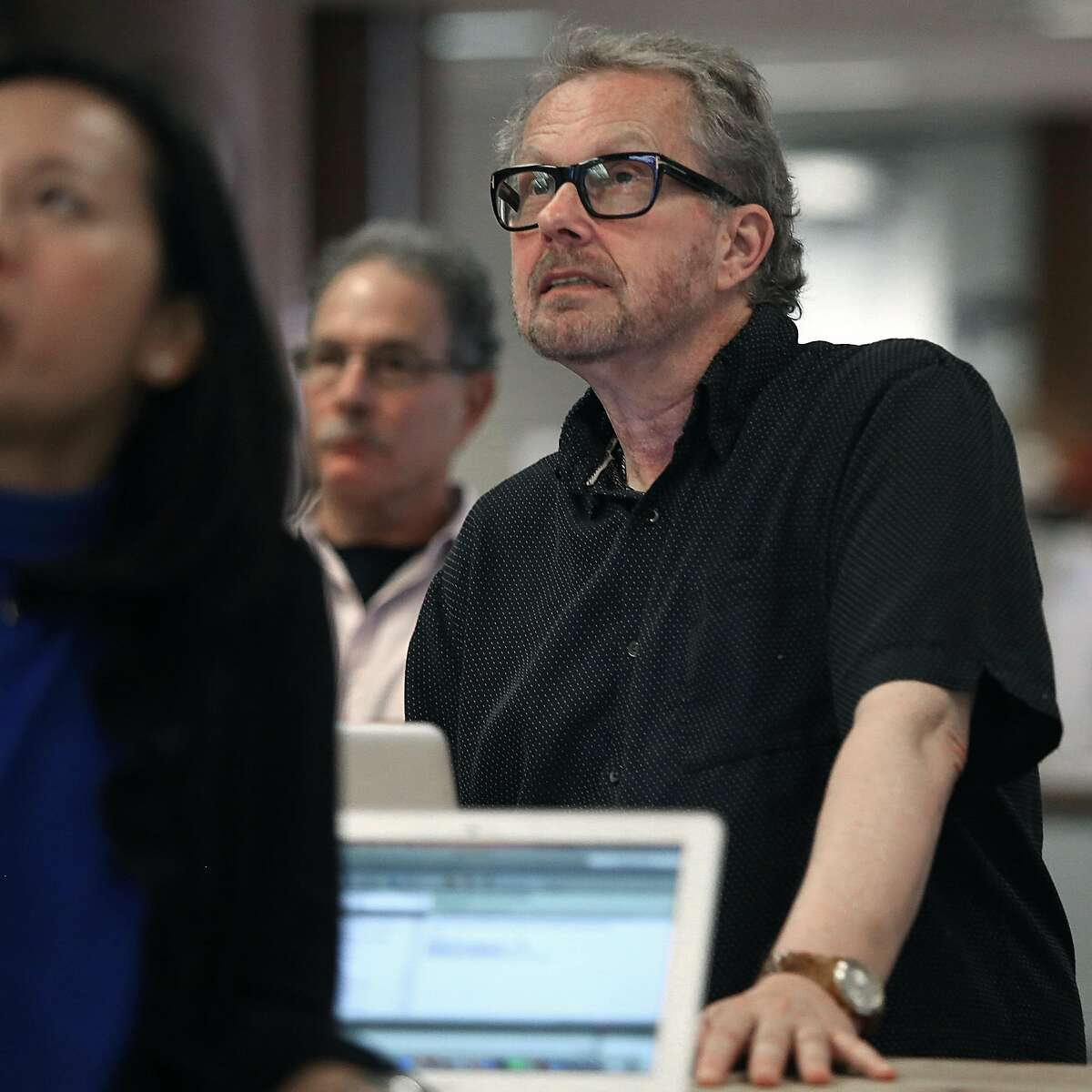 San Francisco Chronicle assistant managing editor and TV critic David Wiegand at a meeting in the newsroom in San Francisco, Calif., on Tuesday, July 14, 2015.