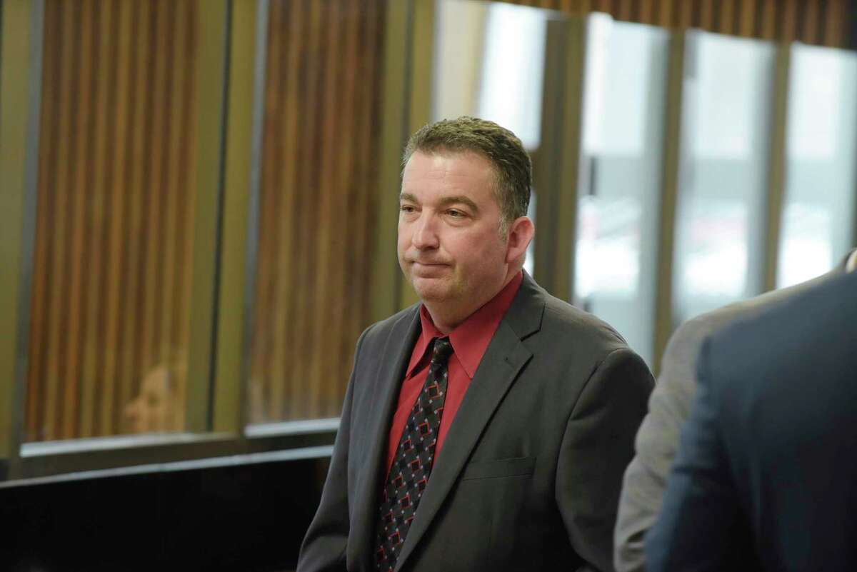 Mark LaViolette, a Galway police sergeant, appears in Albany City Court to respond to charges related to alleged falsifying records on Tuesday, May 1, 2018, in Albany, N.Y. (Paul Buckowski/Times Union)