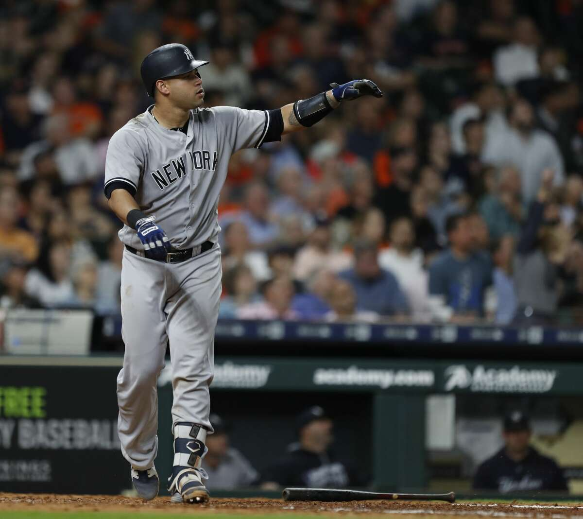 New York Yankees Gary Sanchez (24) reacts after hitting a three-run home run off of Houston Astros relief pitcher Ken Giles during the ninth inning of an MLB game at Minute Maid Park, Tuesday, May 1, 2018, in Houston. ( Karen Warren / Houston Chronicle )