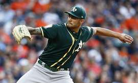 HOUSTON, TX - APRIL 27:  Sean Manaea #55 of the Oakland Athletics pitches in the first inning against the Houston Astros at Minute Maid Park on April 27, 2018 in Houston, Texas.  (Photo by Bob Levey/Getty Images)