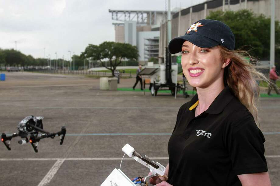 Kelsey Buell of Drone Pilot , Inc. piloting a DJI Inspire drone. The drone was displayed and flown at OTC.    (For the Chronicle/Gary Fountain, May 1, 2018) Photo: Gary Fountain, For The Chronicle / For The Chronicle / Copyright 2018 Gary Fountain