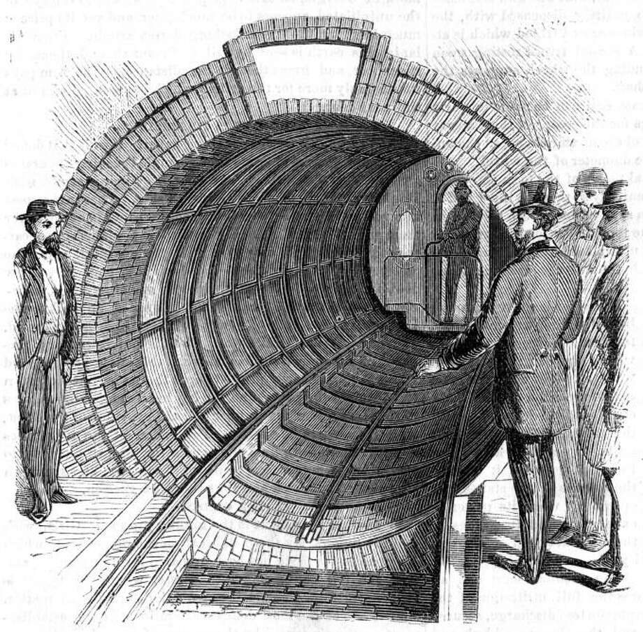 New York inventor Alfred Beachs Pneumatic Transit project created a 300-foot tunnel and used a ventilation fan to power a 22-passenger train one city block during the mid-1860s. Photo: Wikipedia Commons