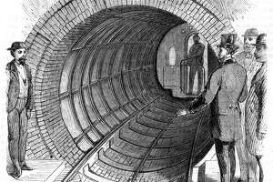 New York inventor Alfred Beachs Pneumatic Transit project created a 300-foot tunnel and used a ventilation fan to power a 22-passenger train one city block during the mid-1860s.