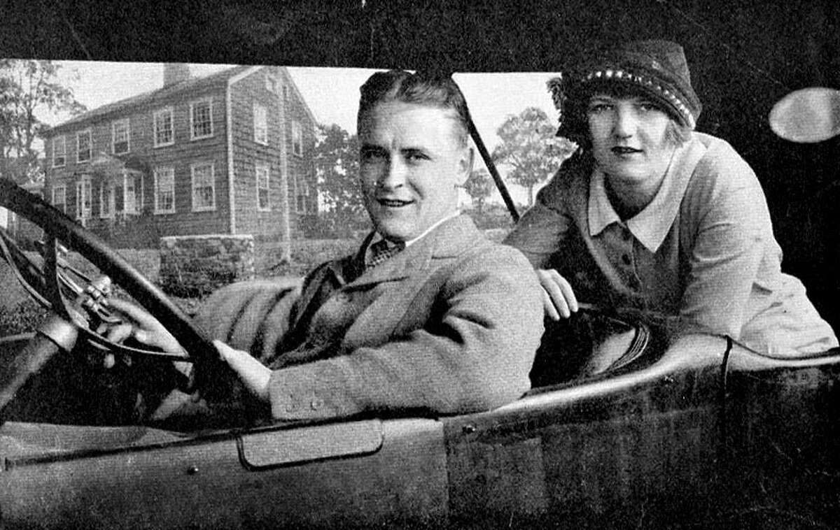 F. Scott and Zelda Fitzgerald, in front of their rented Connecticut home at 244 Compo Beach Road South in Westport, Conn. in 1920.