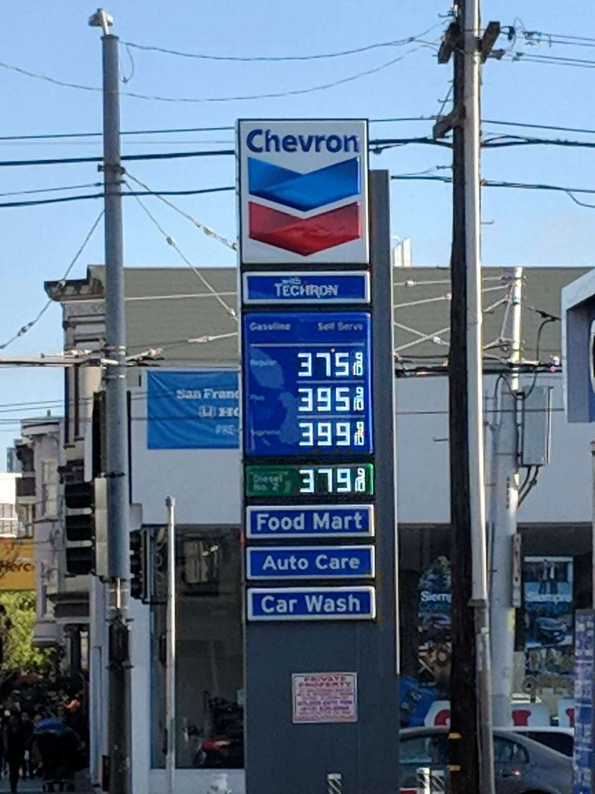 Gas prices at Chevron on South Van Ness in San Francisco on May 2, 2018.