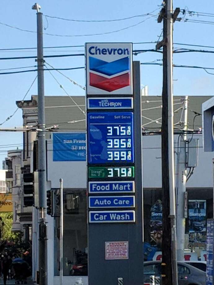 Gas prices at Chevron on South Van Ness in San Francisco on May 2, 2018. Photo: Amy Graff