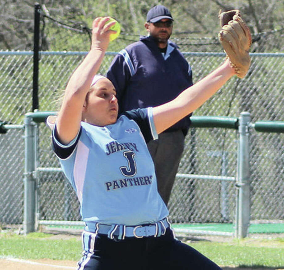Jersey pitcher Erika Storey, shown in a game Saturday at the Alton Tourney, worked four no-hit innings Tuesday to pick up a save in the Panthers' win over Brussels in Jerseyville. Photo:       Greg Shashack / The Telegraph