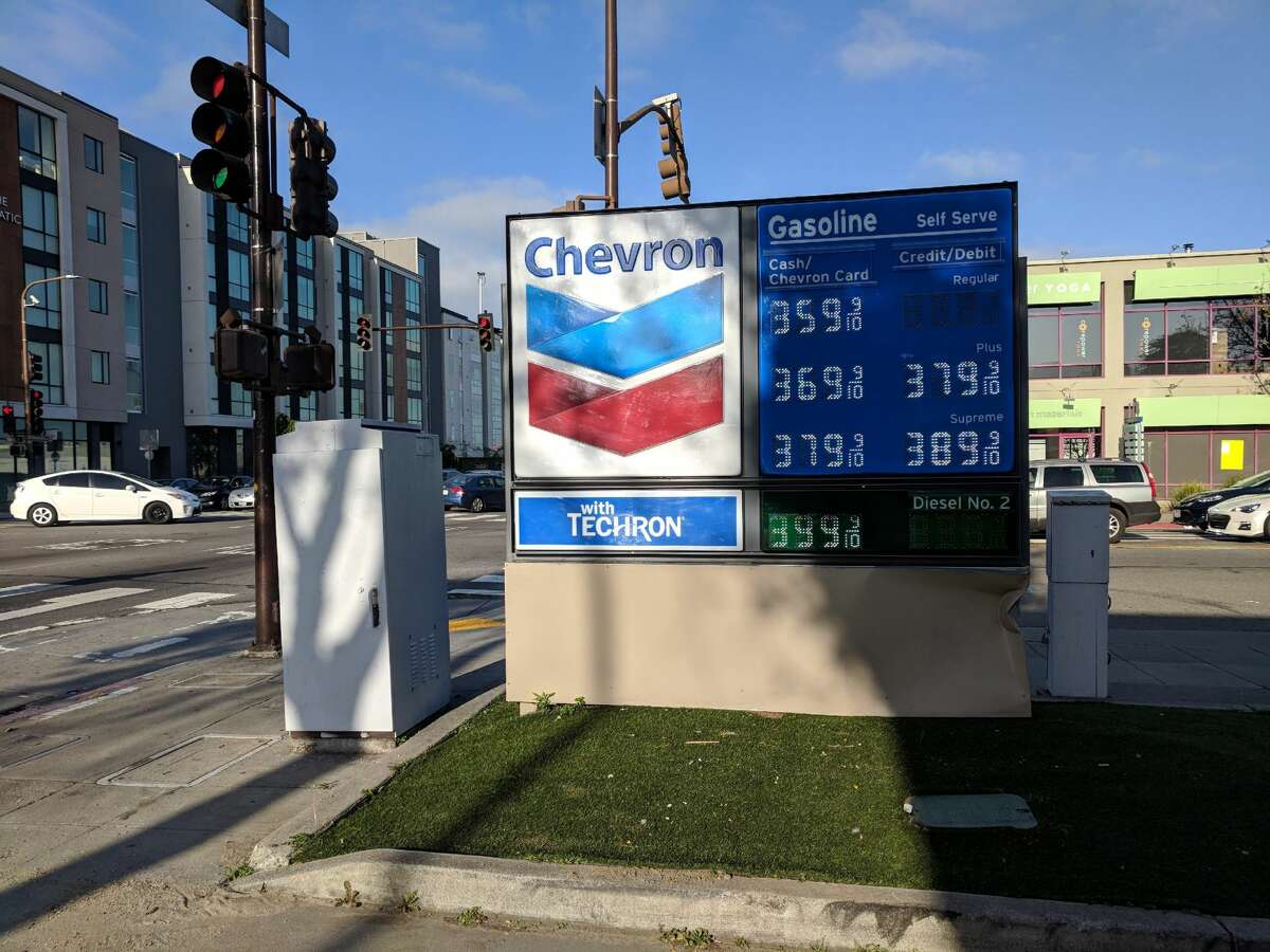 Gas prices at a Chevron in Berkeley on University Ave. and 6th on May 1, 2018.