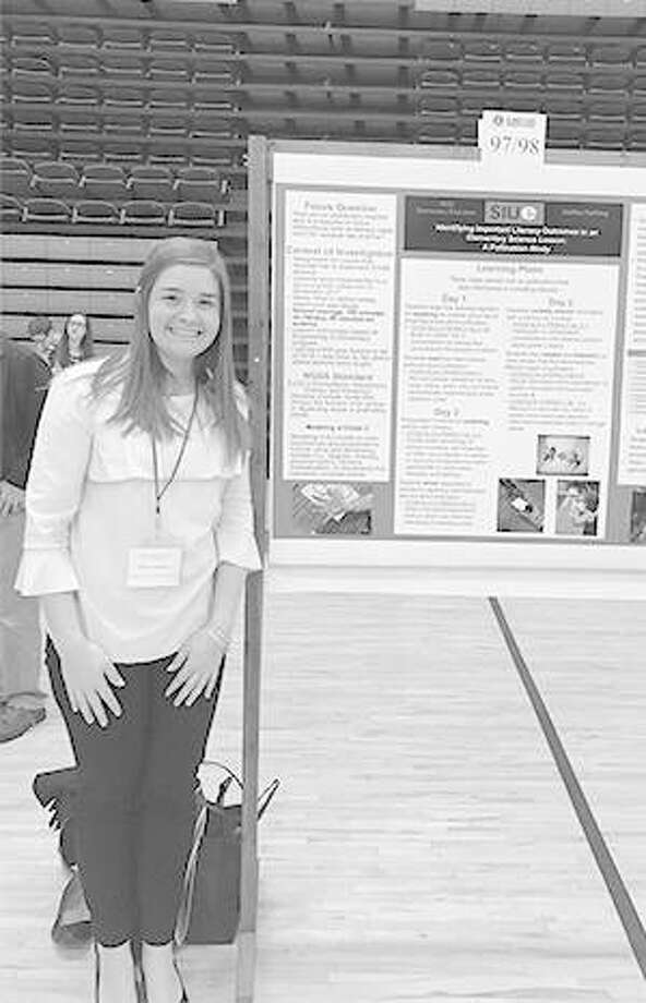 SIUE senior Ashley Farthing earned first place in the STEM Education category for her poster presentation at the Illinois State Academy of Science's Annual Meeting in April. Photo:       For The Telegraph