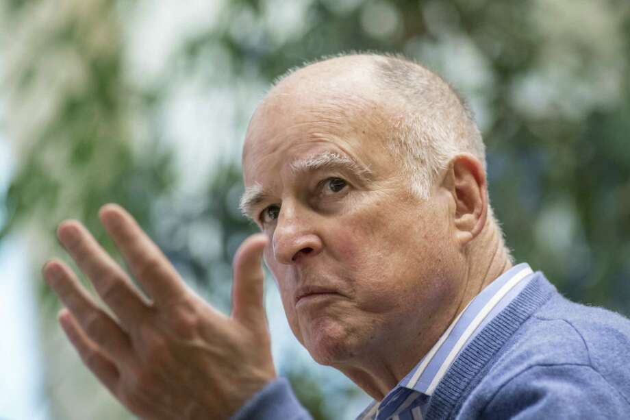 California Gov. Jerry Brown gestures during an interview at the State Capitol in Sacramento on March 2, 2017. Photo: David Paul Morris/Bloomberg / Bloomberg