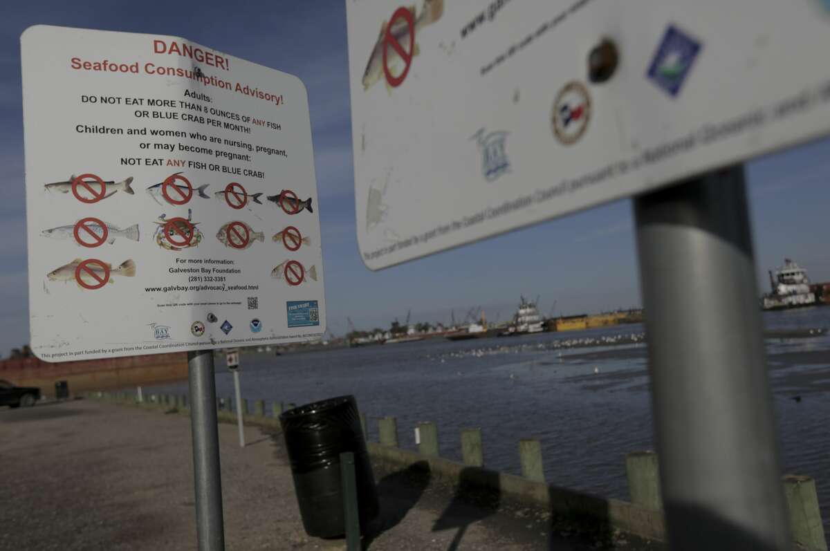 Signs warn people not to fish or crab at River Terrace Park in Channelview.