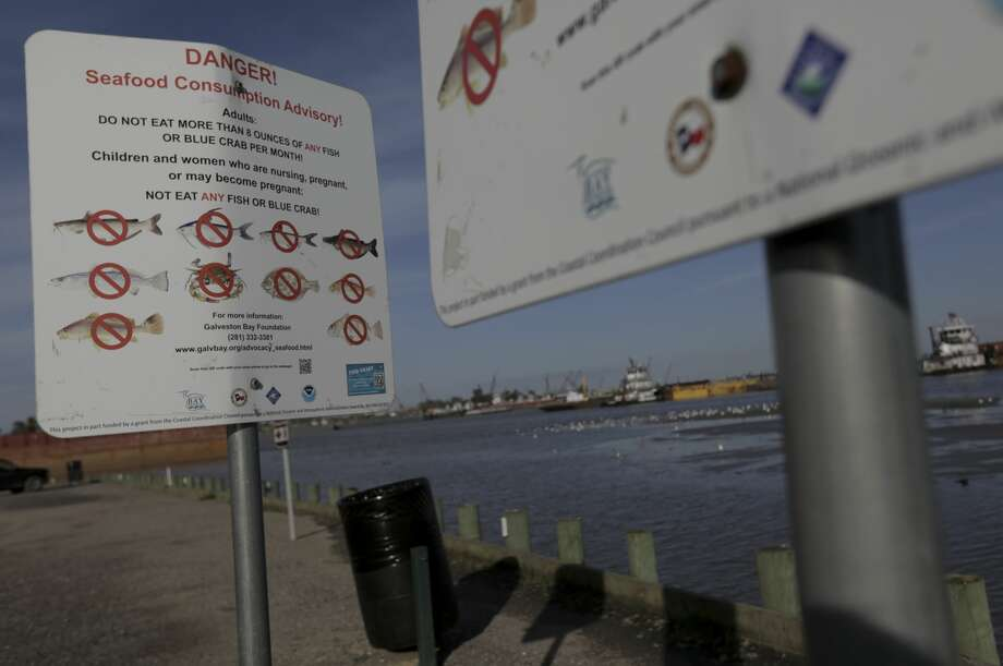 Signs warn people not to fish or crab at River Terrace Park in Channelview. Photo: Elizabeth Conley