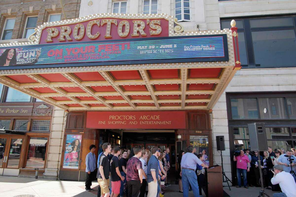 Area high school students who have taken part in a play, gather for the High School Musical Theatre Award nominations outside Proctors on Wednesday, May 2, 2018, in Schenectady, N.Y. (Paul Buckowski/Times Union)