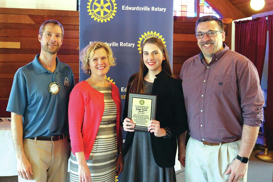 Paige Terch, third from left, receives her Student of the Month Award from the Edwardsville Rotary Club. Photo for the Intelligencer