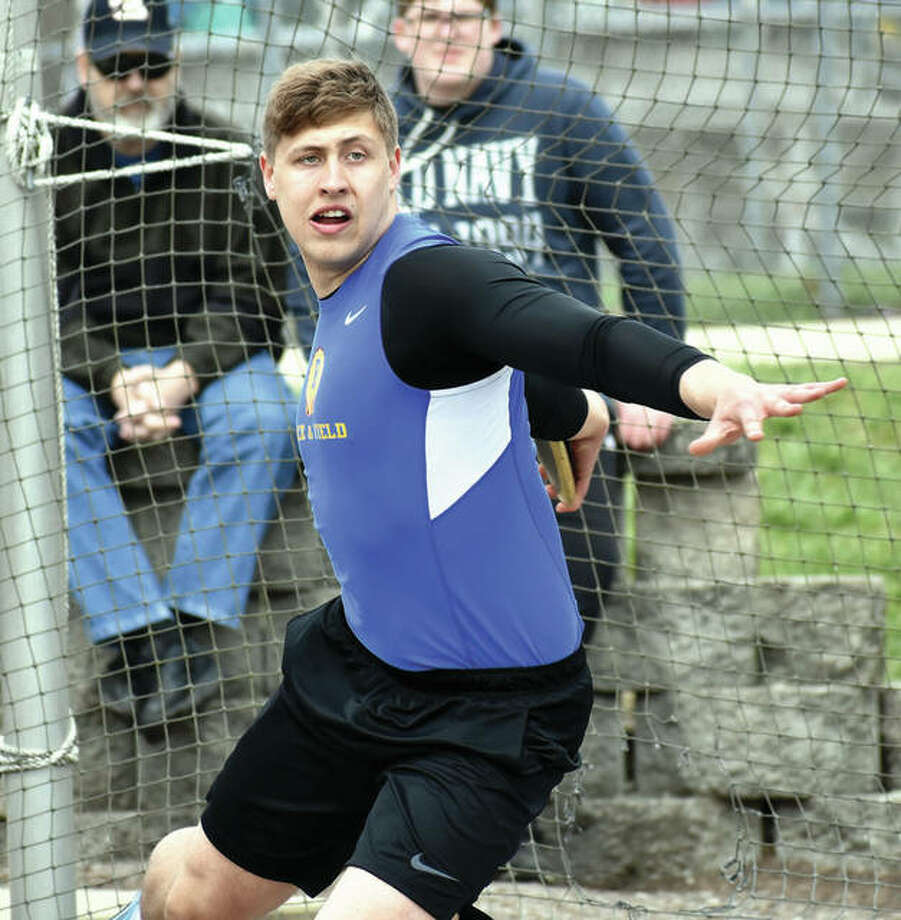 Roxana's Jordan Hawkins, shown competing during the Winston Brown Invite earlier this season at Edwardsville, was in Litchfield on Tuesday for the South Central Conference track meet and won the SCC title in the discus. Photo:     Matthew Kamp / Hearst Newspapers