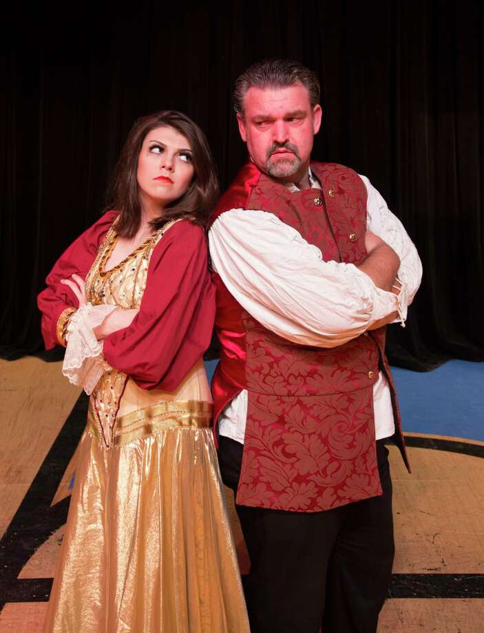 """Lizzie Camp as Lilli Vanessi/Kate and Dave Kerr as Fred Graham/Petruchio in The Players Theatre Company's """"Kiss Me Kate."""" The show opens tonight, May 4, at the Owen Theatre and runs through May 26."""