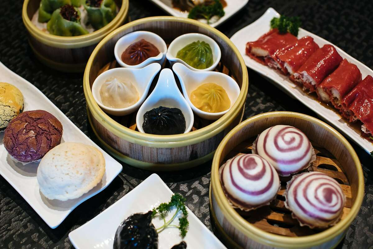 A spread of dishes photographed at Dragon Beaux in San Francisco.