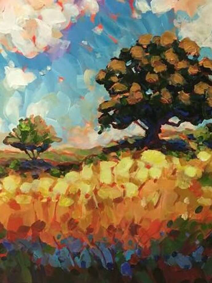 "An acrylic painting by Charles Wallis titled ""Live Oak on the Hill,"" which won Best Landscape at the Conroe art League's Spring Show and which is on display at the Gallery at the Madeley Building throughout the month of May."