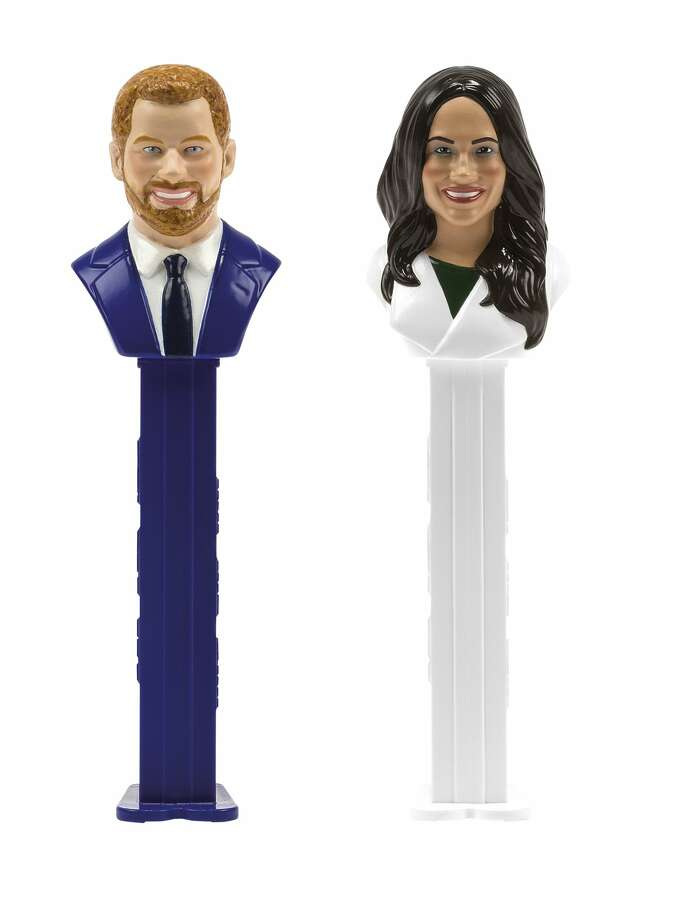 In this image released on Wednesday, May 2, 2018, Austrian sweets manufacturer PEZ has developed an exclusive souvenir for the wedding of the year. Fans of the happy couple and of the cult-brand can join in the bidding for a distinctive dispenser set, the only one of its kind in the world. Photo: PEZ International GmbH/AP