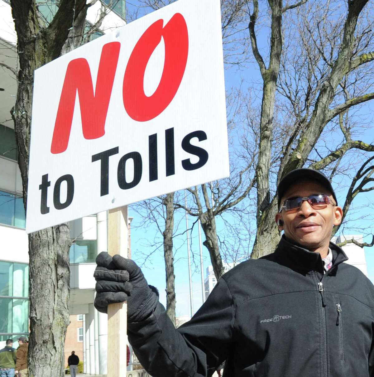 A protest against tolls, a tire tax and a gas tax was held at the Stamford Goverment Center in February.