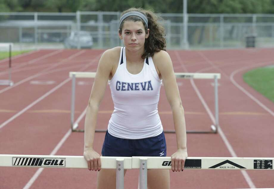Boerne Geneva's Amy Ambelang will compete in both hurdles races, the long jump and the 1,600 relay at the TAPPS state meet. Photo: Tom Reel / San Antonio Express-News / 2017 SAN ANTONIO EXPRESS-NEWS