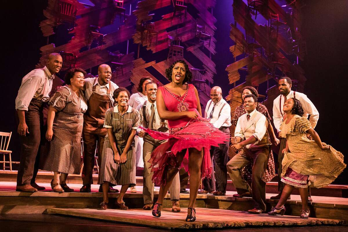 """Carla R. Stewart as Shug Avery, center, and the North American tour cast in """"The Color Purple"""" at SHN's Orpheum Theatre."""