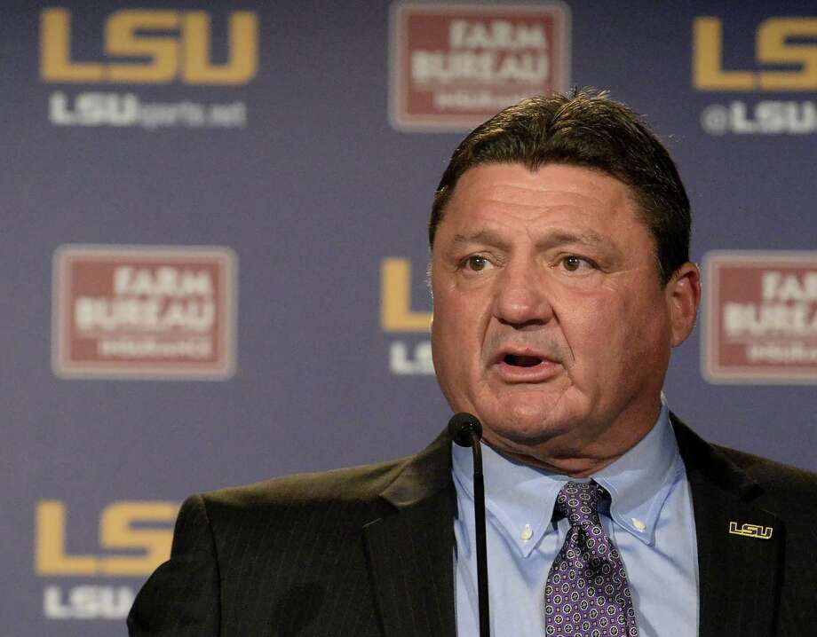 LSU coach Ed Orgeron speaks during an NCAA college football news conference, Saturday, Nov. 26, 2016, in Baton Rouge, La. LSU is sticking with Orgeron, giving the interim football coach his dream job on a permanent basis. (Hilary Scheinuk/The Advocate via AP) Photo: Hilary Scheinuk, Associated Press / The Advocate