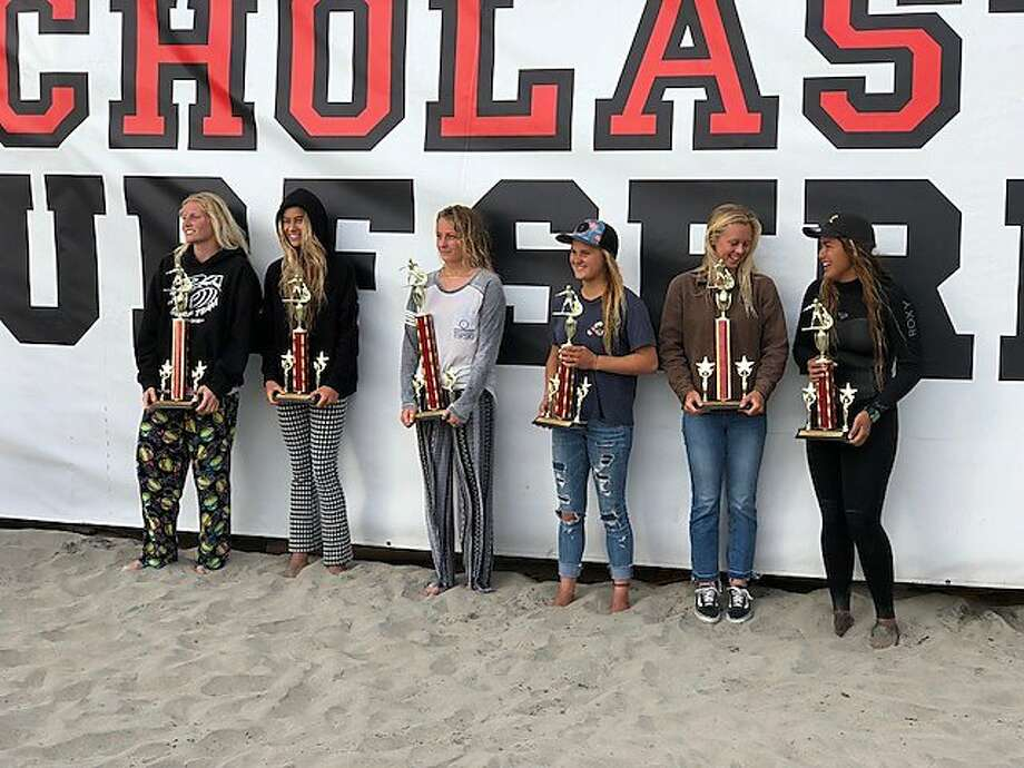 San Francisco surfer Emma Stone, 16, (third from left), won the Scholastic Surf Series state championship at Oceanside Harbor in San Diego on April 23. Photo: Courtesy Mike Wallace /