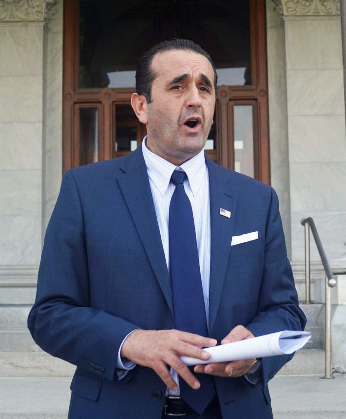Republican gubernatorial candidate Peter Lumaj of Fairfield spoke to reporters at the Capitol in Hartford, Conn. on Wednesday May 2, 2018 because he believes he is the victim of a smear campaign by Hearst Connecticut Media. Hearst published a story Sunday factchecking various exaggerations Lumaj has made on the campaign trail.