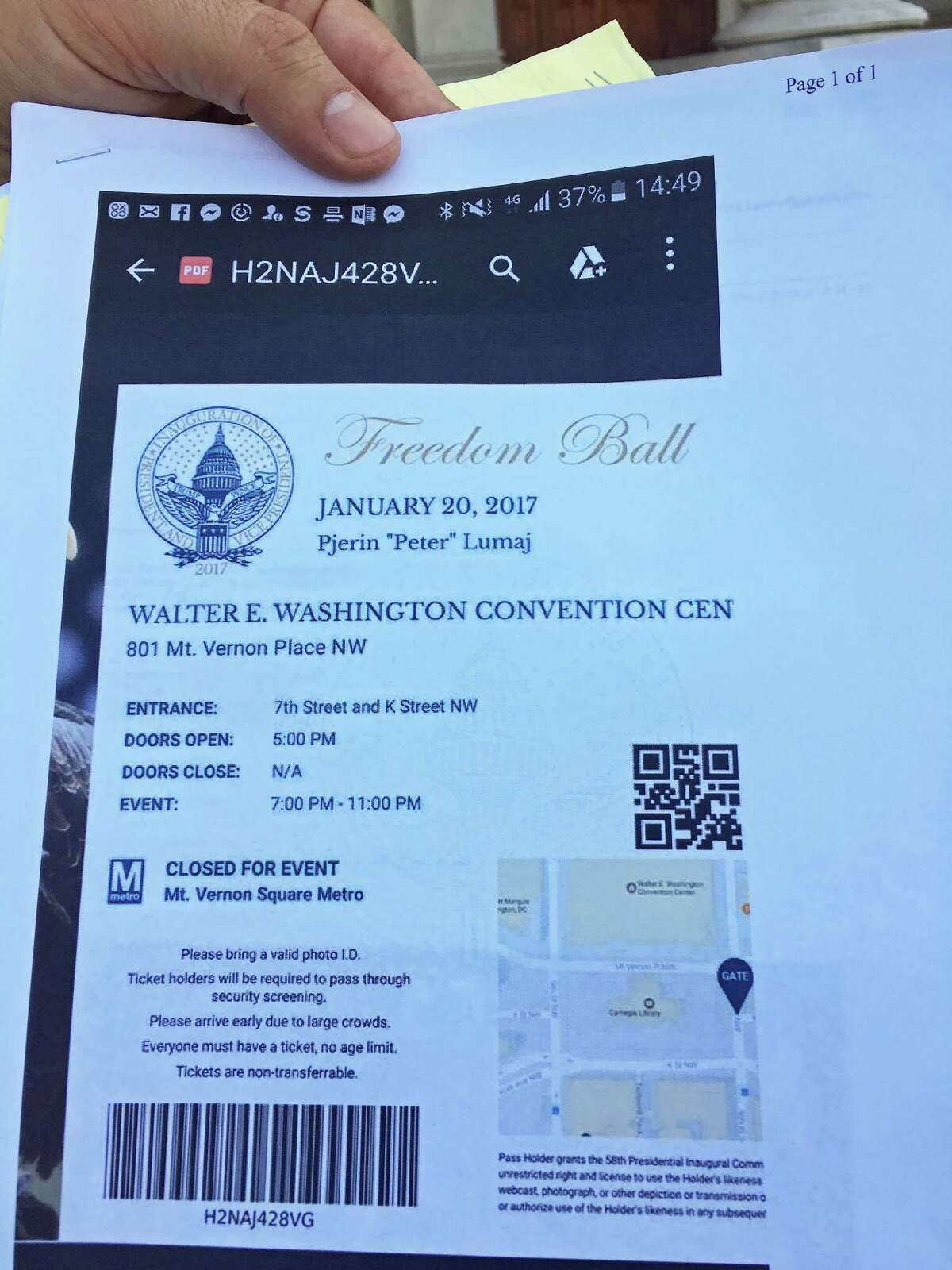 """This is Republican gubernatorial candidate Peter Lumaj's ticket to the Freedom Ball, a public event held on the day of President Donald Trump's inauguration. Lumaj showed this ticket to reporters on Wednesday May 2, 2018, saying it was proof that he was """"invited"""" to Trump's inauguration."""