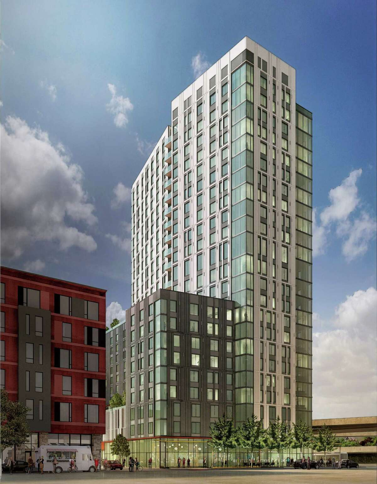 A rendering of the 24-story Skylyne housing project at the MacArthur Transit Village in Oakland