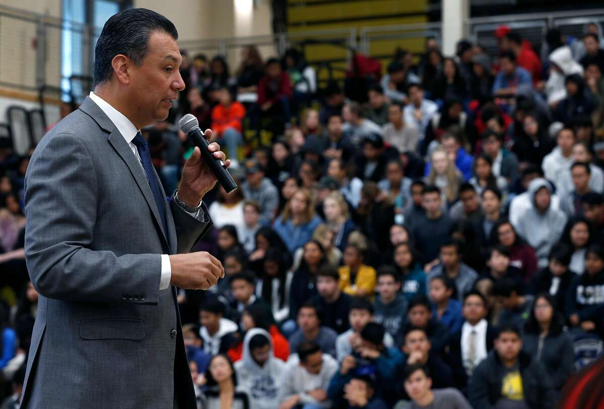 California Secretary of State Alex Padilla encourages students to register to vote during an assembly at American Canyon High School in American Canyon, Calif. on Thursday, April 26, 2018.
