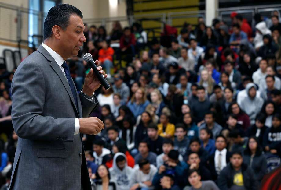 Secretary of State Alex Padilla encourages students to register to vote during an assembly at American Canyon High School. Photo: Paul Chinn / The Chronicle