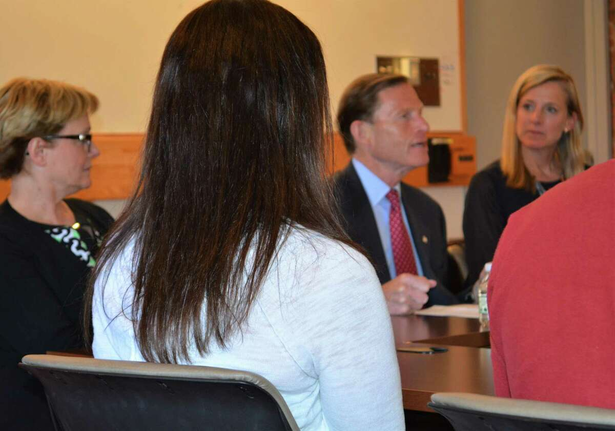 Torrington Mayor Elinor Carbone with U.S. Sen. Richard Blumenthal and Maria Coutant-Skinner, co-chairwoman of the Litchfield County Opioid Task Force