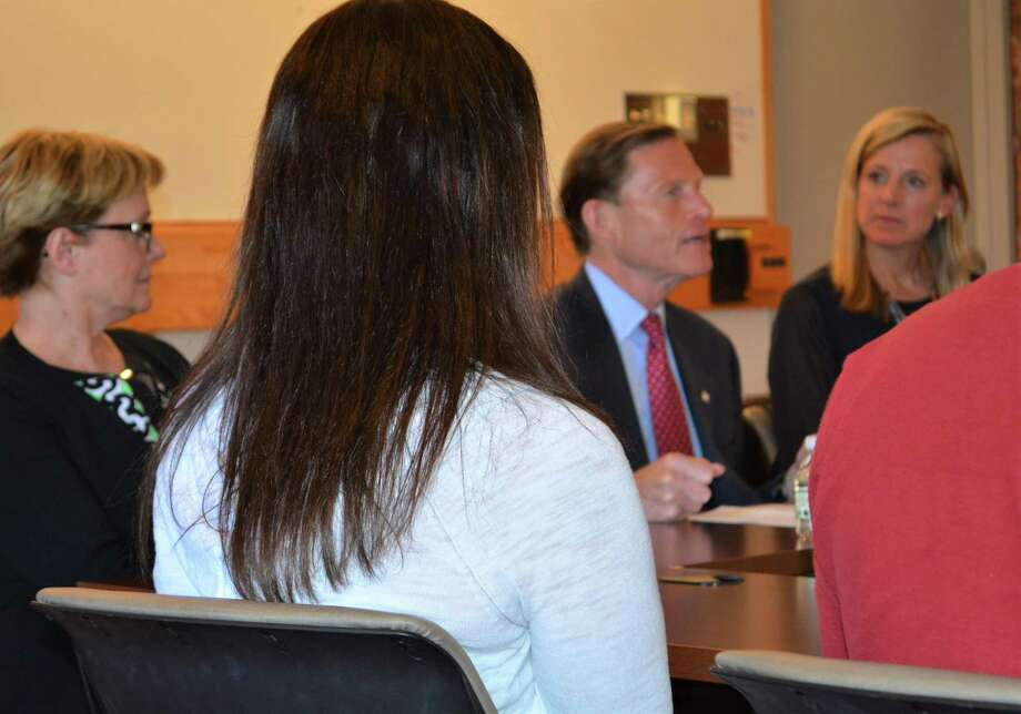 Torrington Mayor Elinor Carbone with U.S. Sen. Richard Blumenthal and Maria Coutant-Skinner, co-chairwoman of the Litchfield County Opioid Task Force Photo: Leslie Hutchison / Hearst Connecticut Media