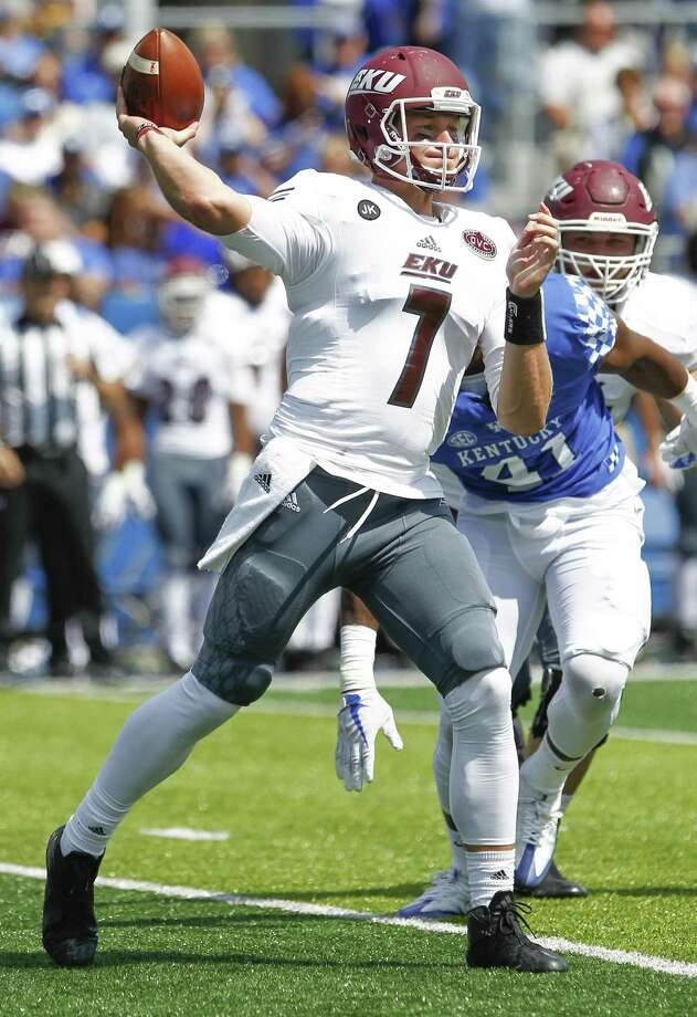 LEXINGTON, KY - SEPTEMBER 09: Tim Boyle #7 of the Eastern Kentucky Colonels throws the ball against the Kentucky Wildcats at Kroger Field on September 9, 2017 in Lexington, Kentucky. (Photo by Michael Hickey/Getty Images) Photo: Michael Hickey / Getty Images / 2017 Getty Images