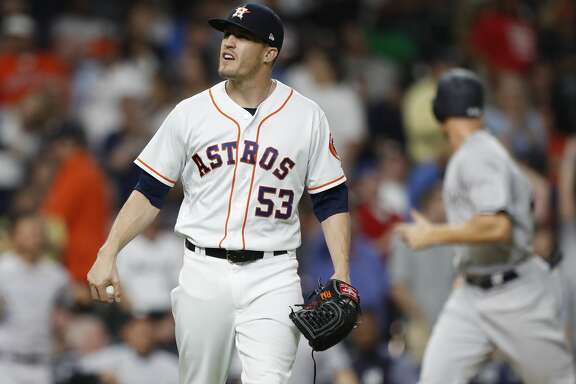 Houston Astros relief pitcher Ken Giles reacts after New York Yankees Gary Sanchez hit a three-run home run off him during the ninth inning of an MLB game at Minute Maid Park, Tuesday, May 1, 2018, in Houston. ( Karen Warren  / Houston Chronicle )