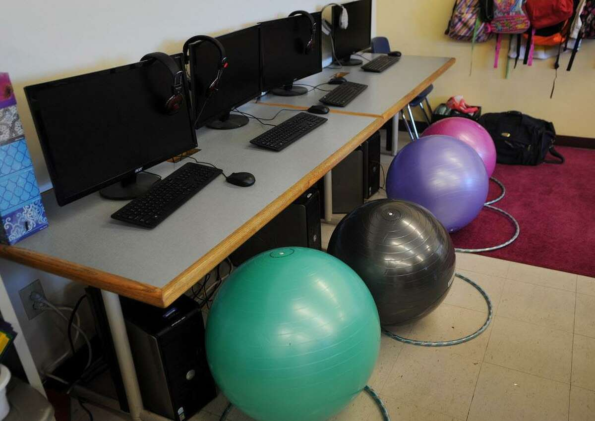 Balance balls for sitting at computers at New Beginnings Family Academy charter school in Bridgeport, Conn. on Tuesday, September 13, 2016. The school follows a progressive educational model.